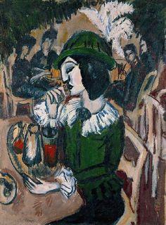 Ernst Ludwig Kirchner (1880 - 1938) Green Lady in a Garden Café (Grüne Dame im Gartencafé),1912 Oil on canvas Kunstsammlung Nordrhein-Westfalen, Düsseldorf