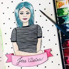 Ilustração super amorzinho que a talentosa @alinetiemi_ fez inspirada em uma das minhas fotos ✨ #jessilustrada #illustration #omundodejess