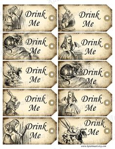"Vintage, Alice in Wonderland, ephemera printable tags. : ""Drink Me""."