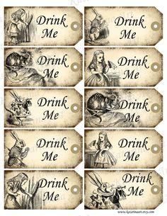 """Vintage, Alice in Wonderland, ephemera printable tags. : """"Drink Me""""."""