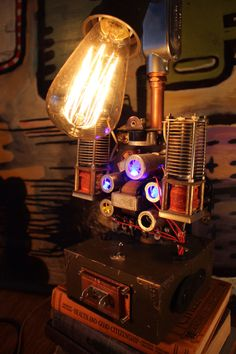 The Aviator, a steampunk inpsired  lamp by RockycatDesign on Etsy https://www.etsy.com/listing/483301243/the-aviator-a-steampunk-inpsired-lamp