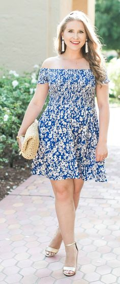 The best dress - ever. This Express off the shoulder dress is so cute, so comfortable, and perfect for a cute maternity outfit for summer!   cute summer outfit, Express blue dress, Sam Edelman metallic gold heels, Baublebar pinata tassel earrings, Ann Tay