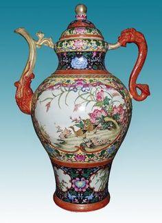Fine Tibet Famille Rose Gilt Porcelain Flower Landscape Bird Beast Teapots 20H | eBay