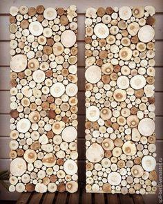 Купить Панно Близнецы 35 на 95 см - коричневый, спил, спил дерева, можжевельник, панно