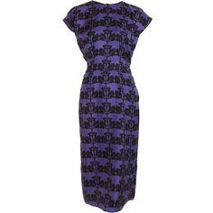 Marni Leaf Dress - Blue China Purple size 38 ($689) ❤ liked on Polyvore