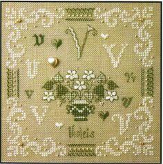 Ye Olde Cross Stitchery - French Alphabet - V is for Violets Kit Cross Stitch Letters, Cross Stitch Samplers, Counted Cross Stitch Patterns, Cross Stitch Designs, Stitch Shop, Stitch Kit, French Alphabet, Hardanger Embroidery, Letter V