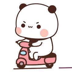 Cute Panda Cartoon, Cute Cartoon Characters, Cute Cartoon Pictures, Cute Love Cartoons, Cute Anime Character, Chibi Cat, Cute Chibi, Doodles Bonitos, Gif Bonito