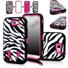 3D Cute Cartoon Pink Armor Zebra White Black Shockproof Case Cover for Samsung Galaxy Note 2 II N7100 Case EC066