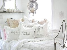 White bedroom...with ruffle pillows...LOVE #shabbychic #vintage