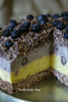 Easy to make, completely NUT-FREE, Soy-Free and Gluten-Free ( crust, filling and topping ) Raw, Vegan Blueberry, Mango and Passion fruit layered healthy goodness. Ridiculously tasty and guilt-free dessert … what more can you ask of a raw cake?
