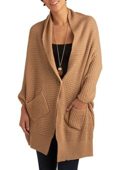Cozy camel-colored cardigan via Mod Cloth for $54.99