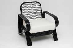 50's retro rattan armchair with 2 tone weave from lincoln brooks