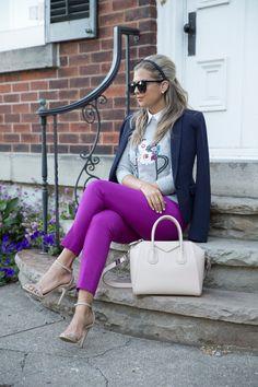 Jacket: c/o RW&CO | Sweater: c/o RW&CO | Pants: c/o RW&CO | Shoes: Express | Sunglasses: Karen Walker | Bag: Givenchy | Earrings: Tiffany's {similar}