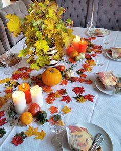 """152 likerklikk, 14 kommentarer – Anne Tove Jensen (@an2jens) på Instagram: """"Høstdekket bord flotte farger i naturen om høsten#høst #autumn #bordekking #gresskar #kkliving…"""""""