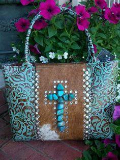 Turquoise Totes: Kurtmen Tooled Leather Purse