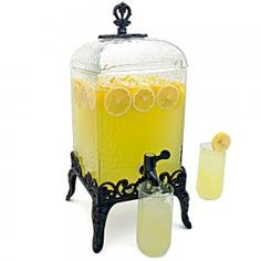 21 beverage dispensers that'll make your hydration station look like wedding art Glass Beverage Dispenser, Water Dispenser, Cheers, Offbeat Bride, Bar Tools, Mellow Yellow, Summer Drinks, Summer Parties, Lemonade