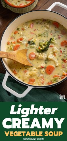 Creamy Vegetable Soup - An easy and quick to make delicious lighter creamy soup with mixed vegetables - perfect for lunch or dinner. Slimming World and Weight Watchers friendly Creamy Vegetable Soups, Vegetable Soup Recipes, Veggie Soup, Veggie Meals, Mix Veg Soup, Slimming World Vegetarian Recipes, Slimming Recipes, Lunch Recipes, Healthy Recipes