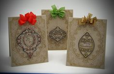 card ensemble designed by Barb Schram using Noel Christmas Ornaments, Christmas Holly BG and Christmas Miracle Ornaments