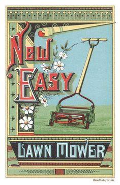 New Easy Lawn Mower trade card (Milton Bradley lithographers) Neue Easy Lawn Mower Handelskarte (Milton Bradley Lithographen) Vintage Labels, Vintage Ephemera, Vintage Postcards, Vintage Ads, Vintage Images, Vintage Signs, Vintage Prints, Vintage Paper, Graphics Vintage