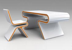 Omega desk-and-chair furniture set by the furniture-and-architecture firm Atomere.  Deceptively strong but also flexible enough to provide additional comfort.