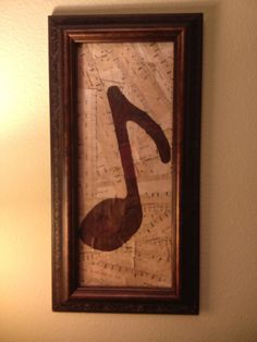 Framed Musical Note on Vintaged Sheet Music by 1Peter410 on Etsy, $15.00