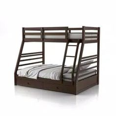 Harper & Bright Designs Espresso Twin Bunk Bed Over with Trundle Bed and End Ladder-SK000067AAP - The Home Depot Bunk Bed Sets, Bunk Bed With Trundle, Full Bunk Beds, Bunk Beds With Drawers, Bunk Beds With Storage, Bed Storage, Extra Storage, Solid Wood Bunk Beds, Kids Toddler Bed