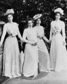 The Edinburgh sisters, from left to right: Princess Alexandra, Princess Beatrice, Princess Victoria Melita and Princess Marie of Edinburgh. Later and respectively, Princess of Hohenlohe-Langenburg, Duchess of Galliera, Grand Duchess of Hesse and then Grand Duchess of Russia and Queen of Romania.