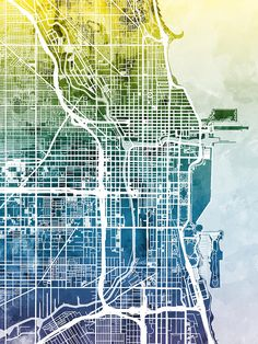 Chicago City Street Map Art Print by artPause - Michael Tompsett - X-Small Chicago Street, Chicago Map, Chicago Illinois, Framed Prints Uk, Art Prints, United States Map, Map Canvas, Pause, City Maps
