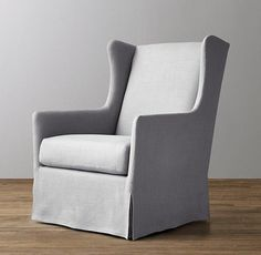 Classic Grey Wingback Slipcovered Swivel Glider