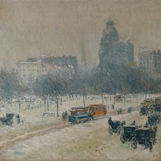 Childe Hassam - Winter in Union Square 1890