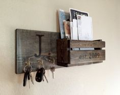 Rustic Monogram Mail and Key Holder in Ebony, Letter and Key Organizer, Personalized Wedding Gift (Woodworking Organization) Mail And Key Holder, Wall Key Holder, Key Holders, Diy Key Holder, Wooden Key Holder, Key And Letter Holder, Letter Rack, Wooden Projects, Diy Projects