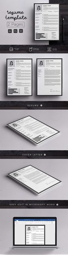 Resume & Cover Letter Template by Hito Graphic on Professional & Clean Resume/CV Word Template. Elegant page designs are easy to use and customize, so you can quickly tailor-make your resume for any opportunity and help you to get your job. College Resume Template, Resume Cover Letter Template, Best Resume Template, Creative Resume Templates, Cv Template, Letter Templates, Design Templates, Resume Words Skills, Resume Writing Tips
