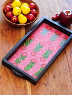 Floral Design Contemporaty style Pattachitra Painting Wooden Tray 15.3in x 7.5in