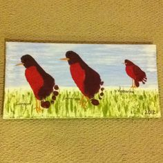Feetsie prints made into birds with kids names and ages!  I am in love....