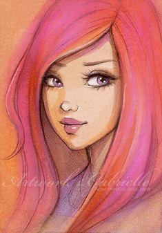 Beautiful Girl drawing, illustration / Bella ragazza, disegno, illustrazione - Artwork by Gabrielle