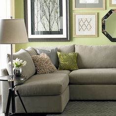 love the sofa color, wall color and all the pictures!