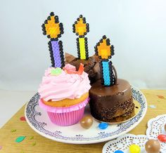 Fusion Beads, Hama Beads, Candle Making, Color Patterns, Birthday Candles, First Birthdays, Dreaming Of You, Comic, Cake