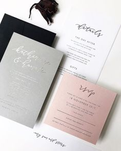 Modern chic grey white and blush wedding invitations Grey Wedding Invitations, Wedding Stationary, Wedding Favors, Event Invitations, Invites, Invitation Set, Wedding Paper, Wedding Cards, Wedding Events