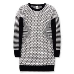 100% Cotton. Knit, long sleeve dress. Regular fitting silhouette. Available in Black.