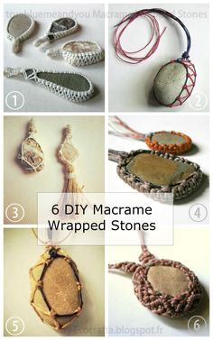 DIY 6 Macrame Wrapped Stone Tutorials from Ecocrafta.I've posted a lot of macrame wrapped and netted stone tutorials and the ones from Ecocrafta range from easy to intermediate. • DIY Lace Wrapped Stone Tutorial from Ecocrafta. Intermediate • DIY...