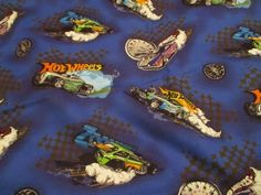 Vintage Fabric ,HOT WHEELS Cotton Fabric - 1.5 yards OOP 2009 NOS car fabric #HotWheels