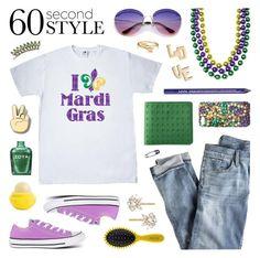 """Happy Mardi Gras!"" by lgb321 ❤ liked on Polyvore featuring J.Crew, Converse, NYX, Jennifer Zeuner, Ivanka, Mad Rabbit Kicking Tiger, Trina Turk, Drybar, Eos and Madewell"