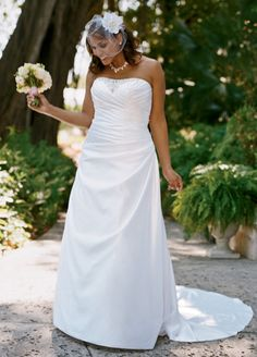 David's Bridal Woman Satin Side-Draped A-Line Gown with Beaded Inset Style 9WG3153
