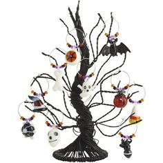 Pier One Halloween Wine Charm Tree Set ($20) ❤ liked on Polyvore