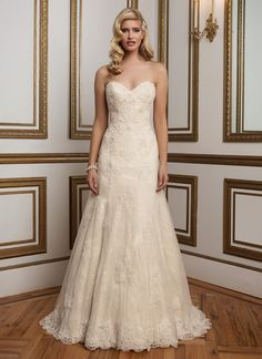 Beaded Venice lace over Chantilly lace grace this classic sweetheart neckline A-line gown and is finished with scalloped lace hem. https://www.justinalexanderbridal.com/wedding_dresses/8839