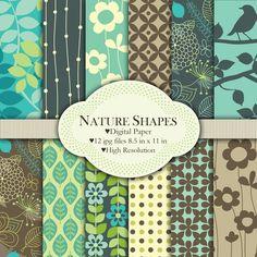 Nature Shapes  Digital paper set by pixelpaperprints on Etsy, $4.25