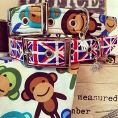 We love these Top Pooch Union Jack and cheeky monkey collar!! #unionjack #gb #monkey
