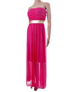 d0de37d29400 Dlhé ružové letné šaty C.H.L. bez ramienok Dlhé jemné ružové letné šaty s  krátkou spodničkou a