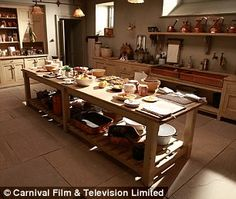 Downton Abbey kitchen set - practical, cozy, beautiful, natural tones and materials