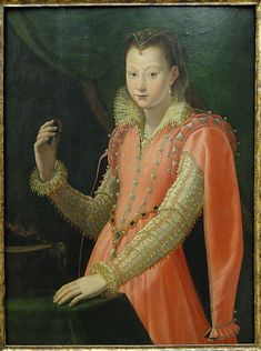 Portrait of a Young Woman as Portia Catonis,c.1600 by Santi di Tito. She is holding a coal - symbol of her suicide, reputedly by swallowing live coals.